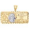 "10K Yellow Gold $100 Hundred Dollar Bill Benjamin Franklin Pendant Charm 1.50"""