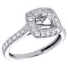14K White Gold Round Diamond Semi Mount Ladies Halo Engagement Ring 0.50 CT.