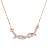 "10K Rose Gold Round Diamond Braided Infinity Necklace 19"" Cable Chain 0.25 CT."