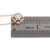 """14K Rose Gold Diamond Square Halo Flower Pendant 17.5"""" Cable Necklace 0.33 CT."""