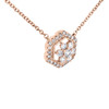 "14K Rose Gold Diamond Flower Halo Circle Pendant 17.5"" Cable Necklace 0.33 CT."