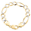 Mens 10K Yellow Gold 11.50mm Diamond Cut Solid Figaro Link Bracelet 8 - 9 Inches