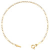 10K Yellow Gold 2mm Diamond Cut Hollow Fiagro Link Bracelet / Anklet 7-10 Inches