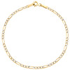 10K Yellow Gold 2.25mm Diamond Cut Hollow Fiagro Link Bracelet Anklet 7-10 Inch
