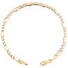 10K Yellow Gold 3.25mm Diamond Cut Hollow Fiagro Link Bracelet Anklet 7-10 Inch