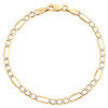 10K Yellow Gold 4mm Diamond Cut Hollow Fiagro Link Bracelet / Anklet 7-10 Inches