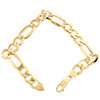 10K Yellow Gold 10.75mm Plain Hollow Fiagro Link Bracelet Lobster Clasp 8-9 Inch