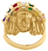 10K Yellow Gold & Marquise Cubic Zirconia Native American Indian 19mm Band Ring