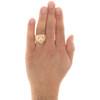 10K Yellow Gold Diamond Cut Textured Lion Head Ruby Eye Statement Ring 20mm Band