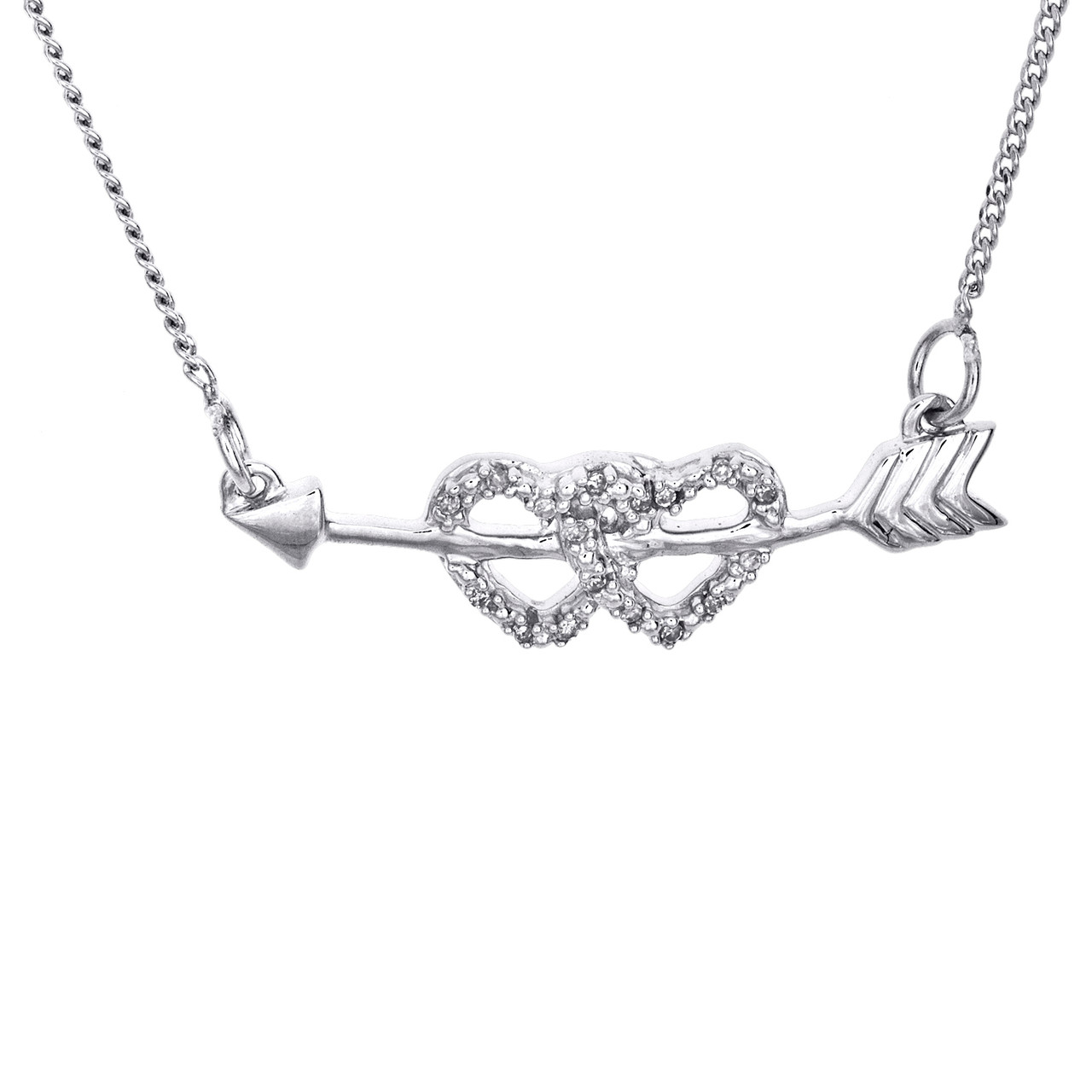 Heart /& Arrow Necklace with Diamonds in Sterling Silver