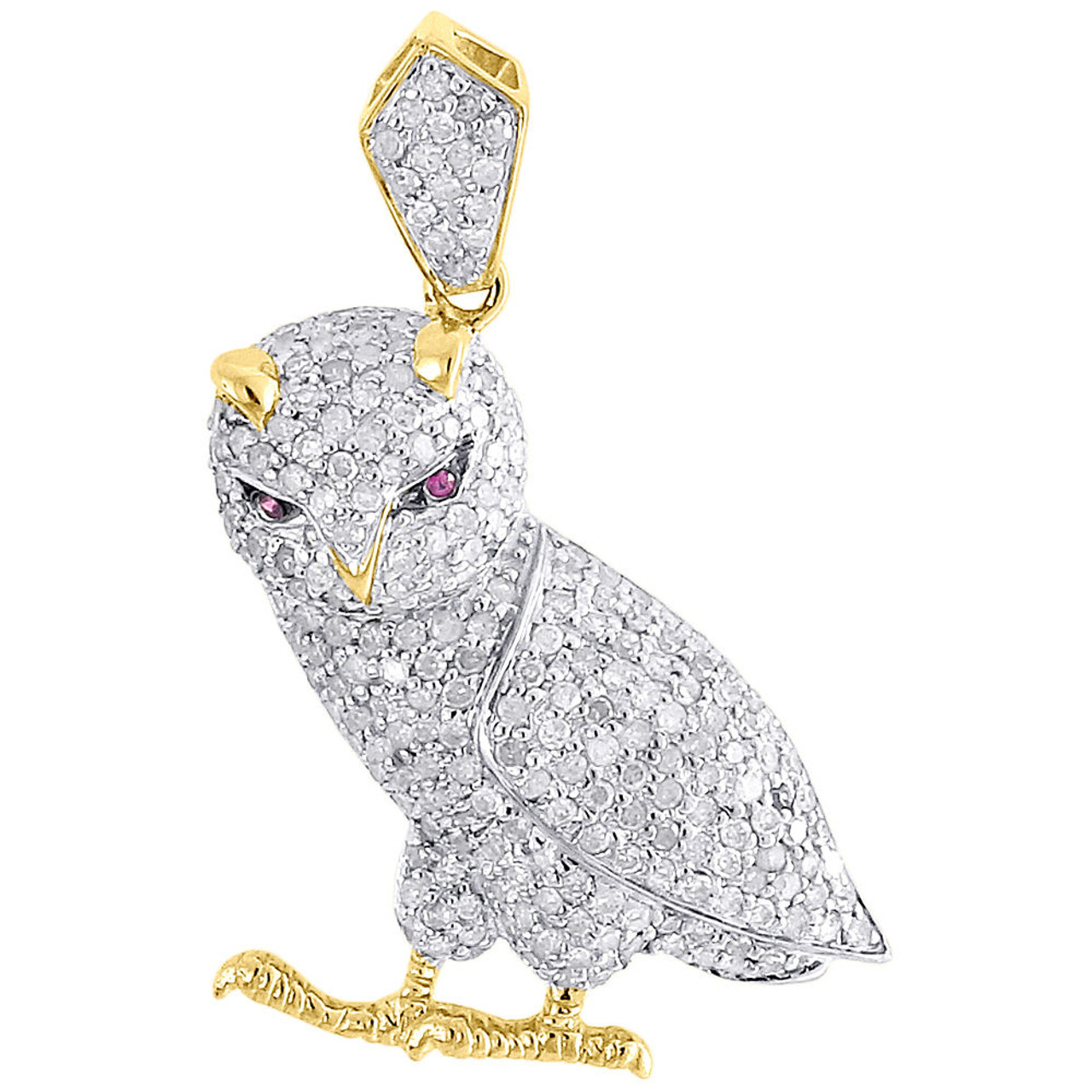 Details about  /2.00 Ct Round Diamond Owl Birds Men/'s Charm Pendant 14K Yellow Gold Over Jewelry