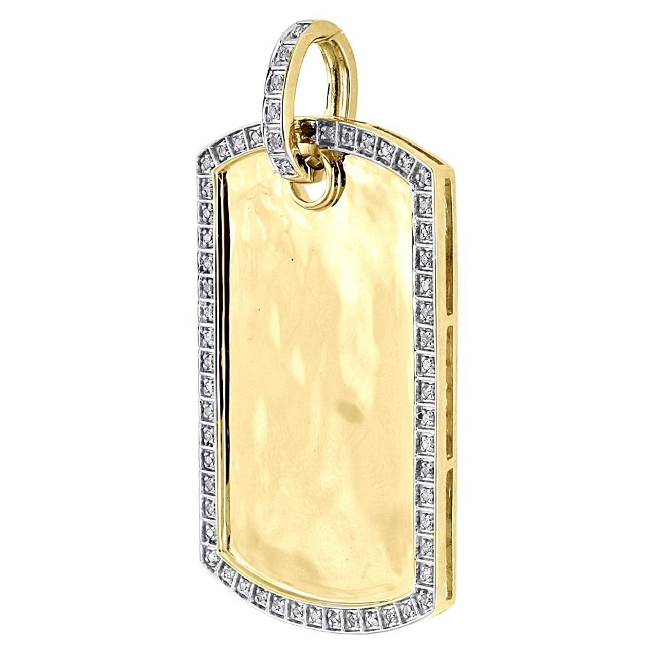 Diamond Dog Tag Pendant Mens 10k Yellow Gold Round Pave Id Charm 0 26 Ct Jewelry For Less