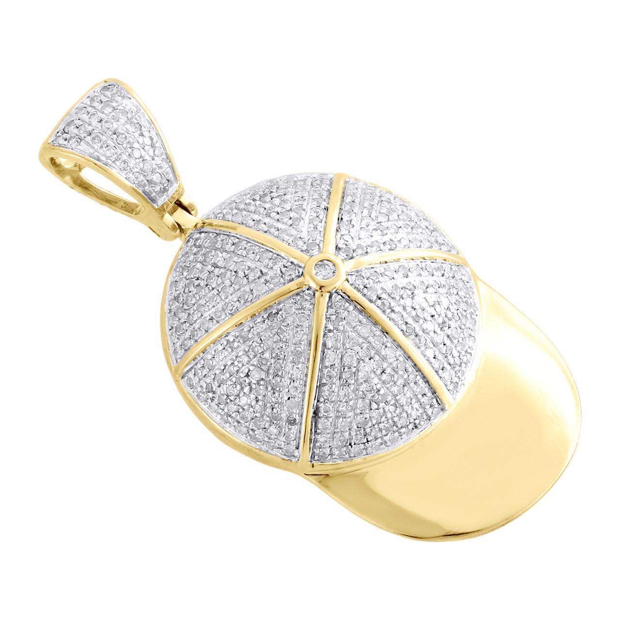 14k Gold Diamond Baseball Hat Pendant