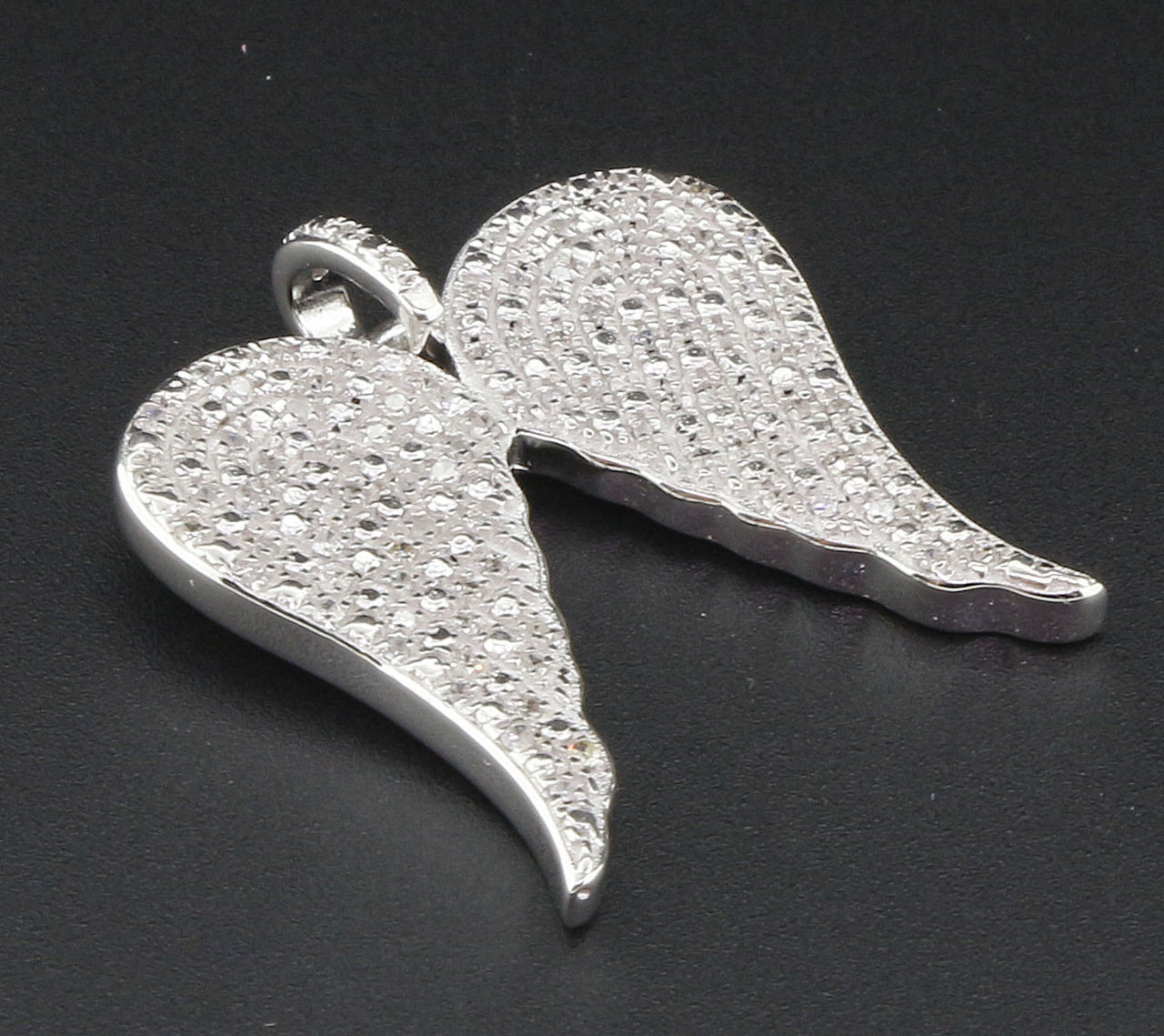 Diamond Angel Wings Pendant Sterling Silver Ladies Round Cut Pave Charm 1 Ct.