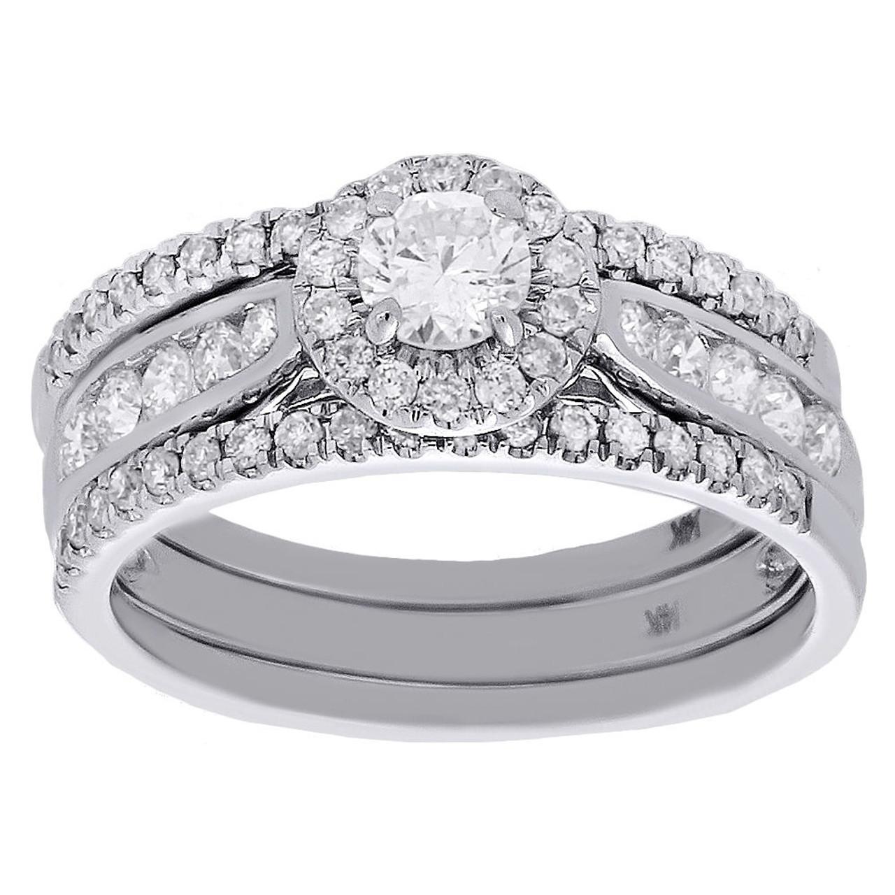 14k White Gold Solitaire Diamond Halo 3 Piece Engagement Bridal Set 1 33 Cttw