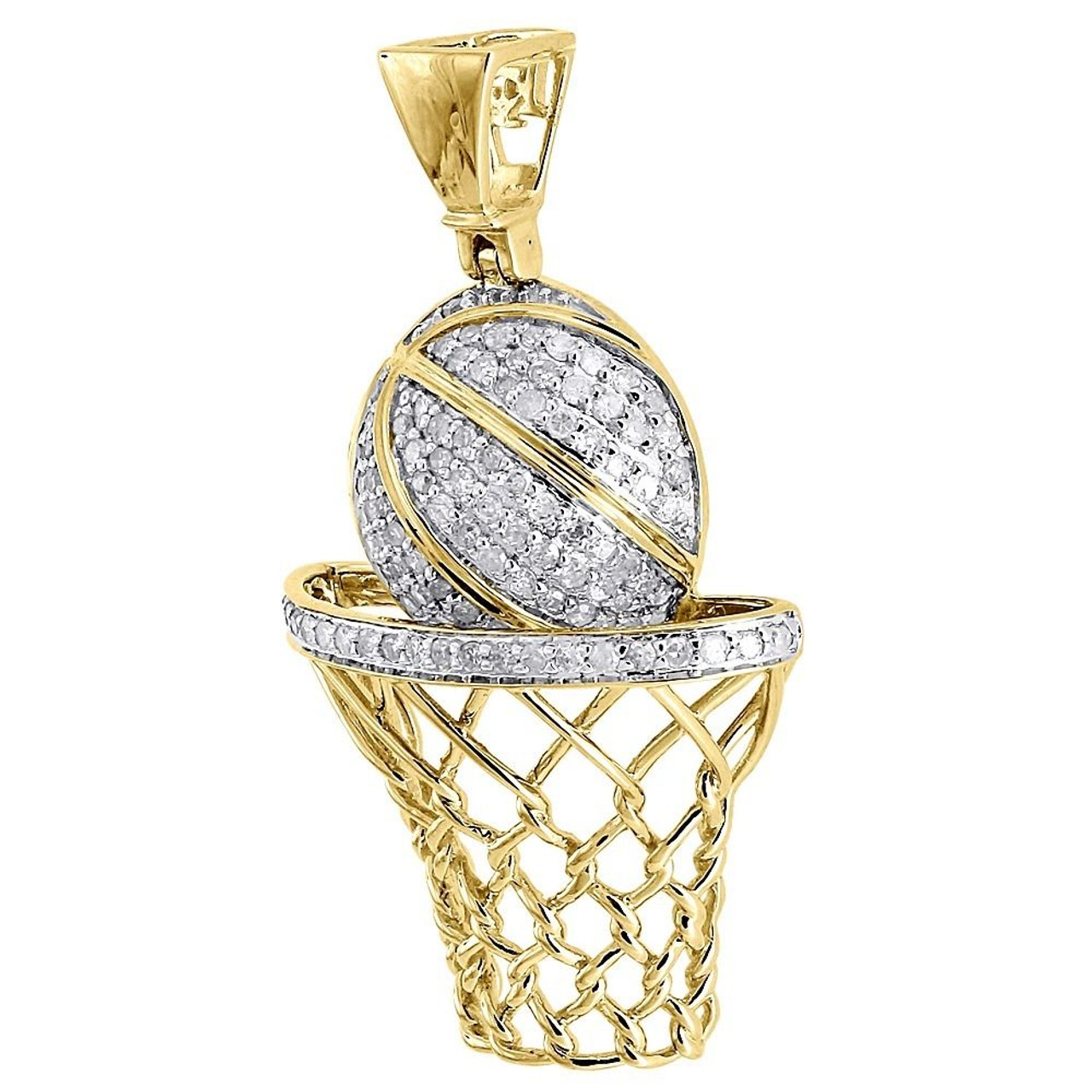 Diamond Basketball Pendant Mens 10k Yellow Gold Round Pave Hoop Charm 3 4 Tcw Jewelry For Less