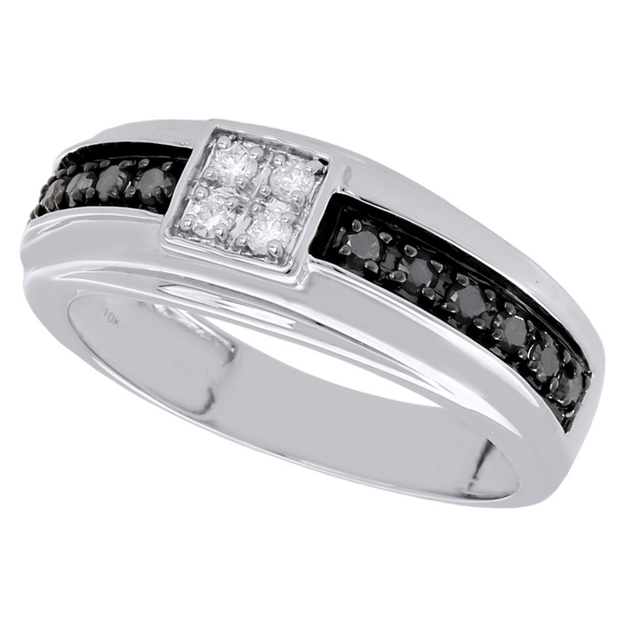 10k White Gold Mens Black Diamond Wedding Band Square Engagement Ring 0 50 Ct Jewelry For Less