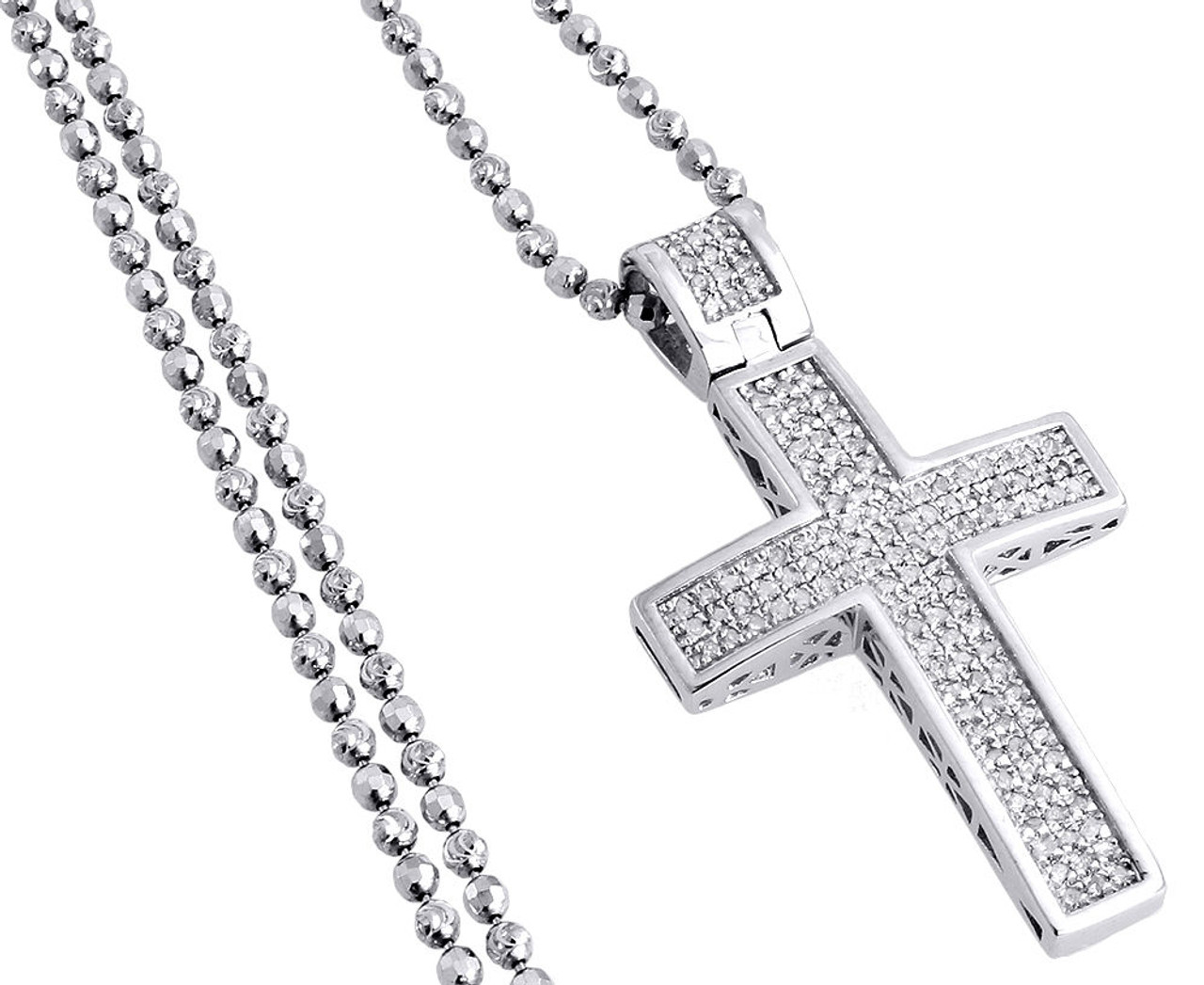 Diamond Pendant Mini Jesus Piece Cross .925 Charm with Moon Cut Chain 1//2 CT.