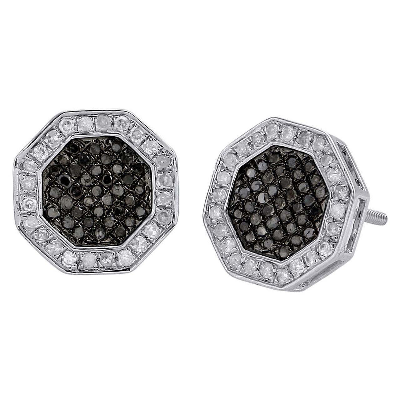 10k White Gold Round Black Diamond Octagon Shape Studs Pave Earrings 1 2 Ct Jfl Diamonds Timepieces