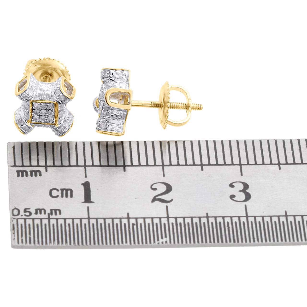10K Yellow Gold Diamond Criss Cross 3D Square Frame Earrings Pave Studs 1//4 CT.