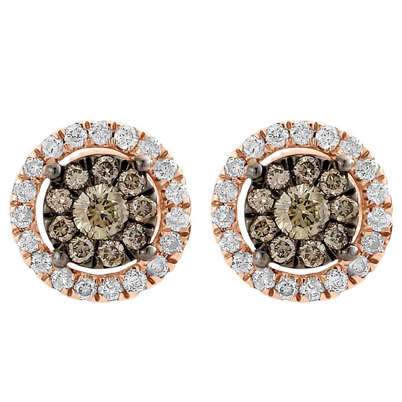 Brown Diamond Solitaire Earrings 14k Rose Gold Round Ladies Studs 0 72 Tcw Jfl Diamonds Timepieces