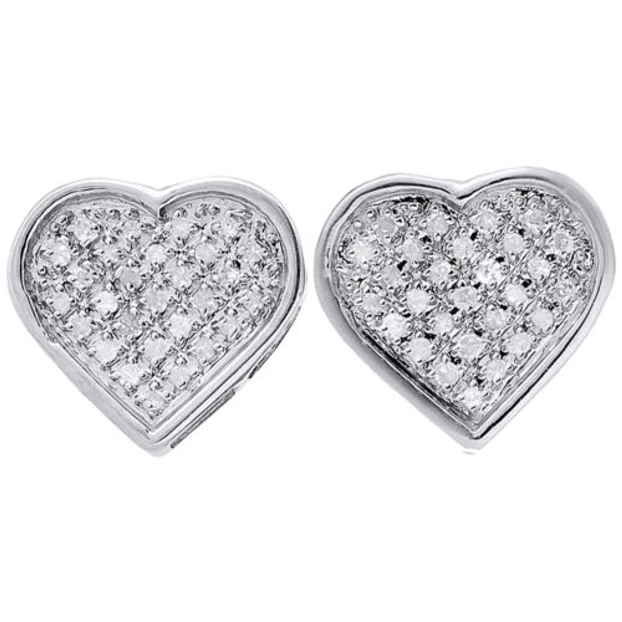 925 Sterling Silver Round Diamond Fancy Heart Studs 10.5mm Pave Earrings 0.02 CT