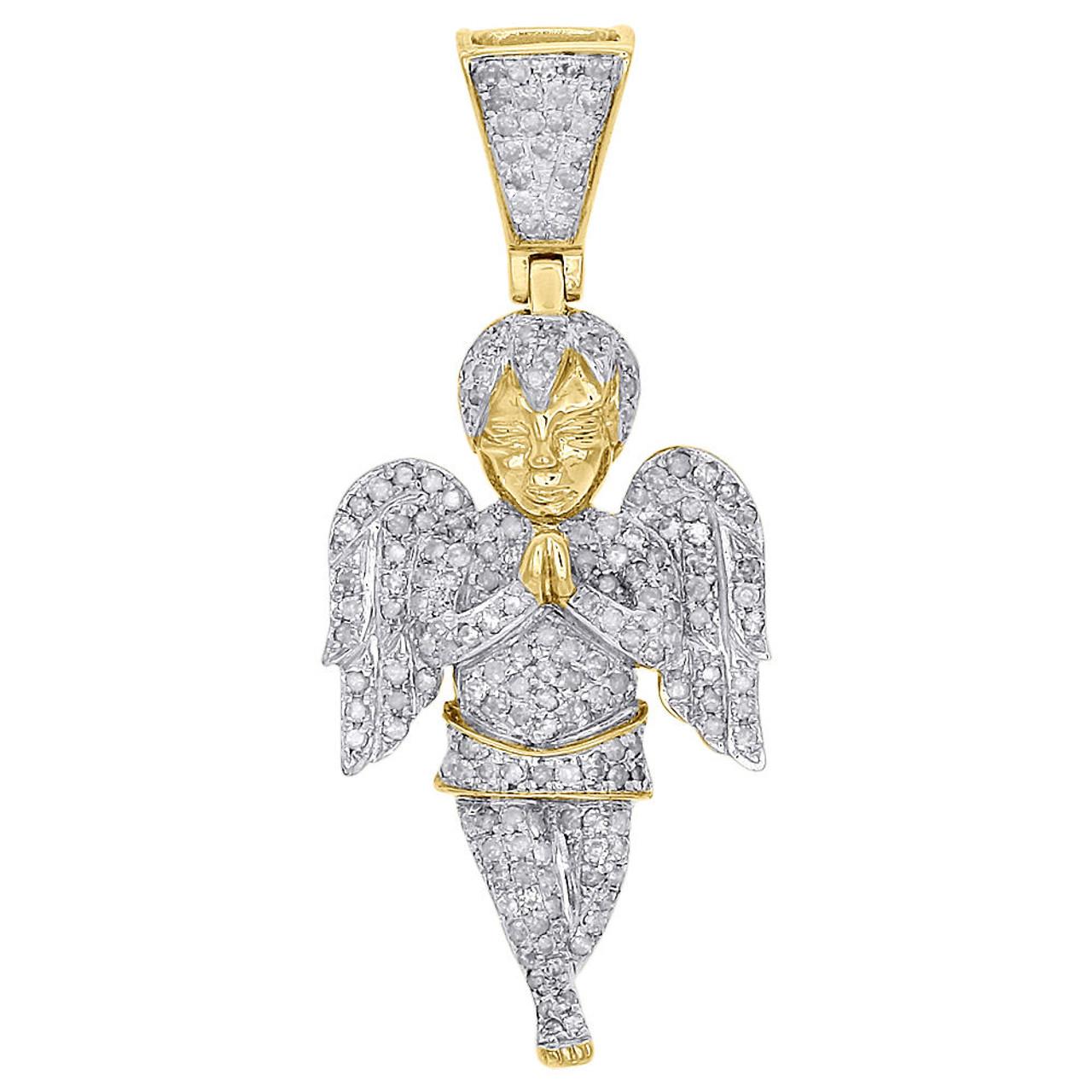 Praying Angel Charm Pendant Diamond Cut Real 10K Yellow White Two-Tone Gold