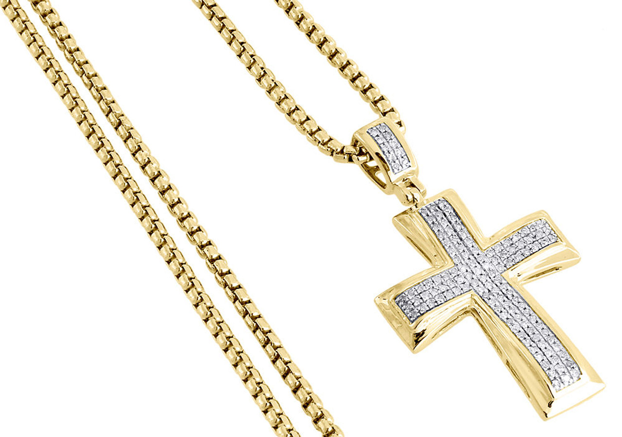 Diamond Cross Pendant Yellow Gold Mens Pave Charm 0 43 Ct Round Box Chain Set Jewelry For Less