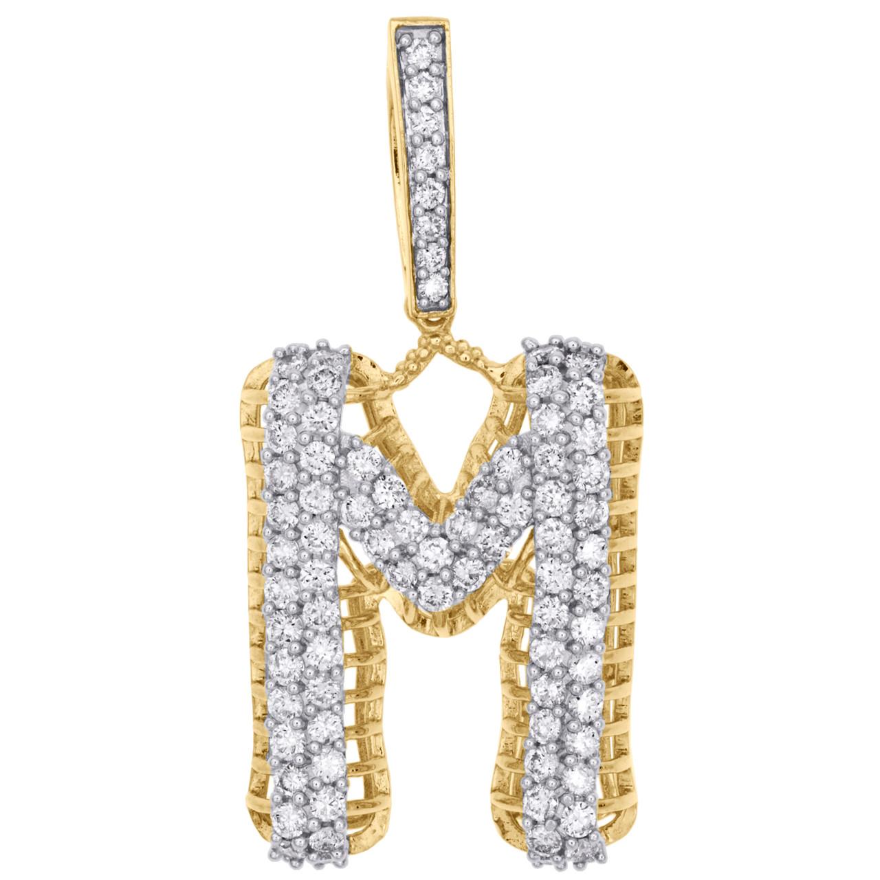 10k Yellow Gold Initial M Charm Pendant