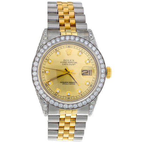 Rolex DateJust 16013 Diamond Watch 18K Two Tone / Steel 36mm Champagne Dial 5 CT