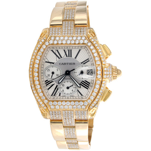 Cartier Roadster Chronograph XL 2619 Automatic Custom Diamond Watch 11.33 CT.