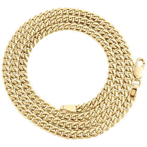 10K Yellow Gold 3.50mm Super Solid Miami Cuban Link Chain Necklace 18-30 Inches