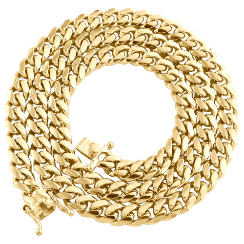 "10K Yellow Gold 6.75mm Solid Miami Cuban Link Chain Box Clasp Necklace 22""- 30"""