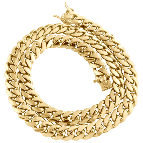 "10K Yellow Gold 10.75mm Solid Miami Cuban Link Chain Box Clasp Necklace 22""- 30"""