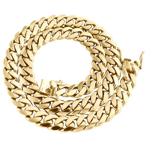 "10K Yellow Gold 12.50mm Solid Miami Cuban Link Chain Box Clasp Necklace 22""- 30"""