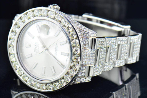 Mens Rolex DateJust 41 Diamond Watch 41mm Ref. # 126300 Silver Stick Dial 30 CT.