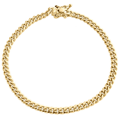 10K Yellow Gold 4.25mm Super Solid Miami Cuban Link Bracelet Box Clasp 7-9 Inch