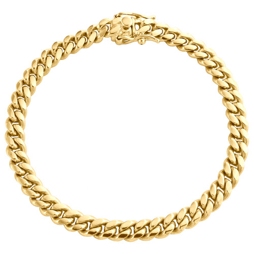 10K Yellow Gold 6mm Super Solid Miami Cuban Link Bracelet Box Clasp 8-9 Inches