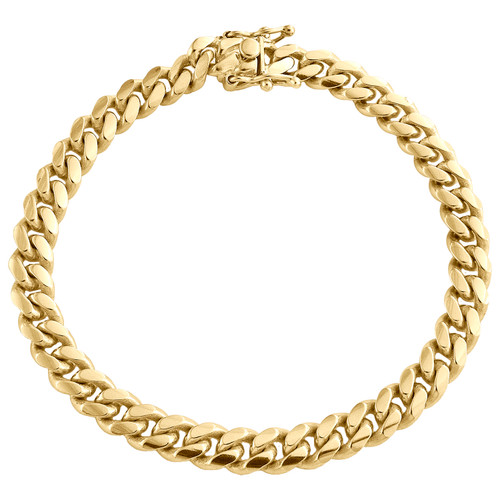 10K Yellow Gold 6.75mm Super Solid Miami Cuban Link Bracelet Box Clasp 8-9 Inch