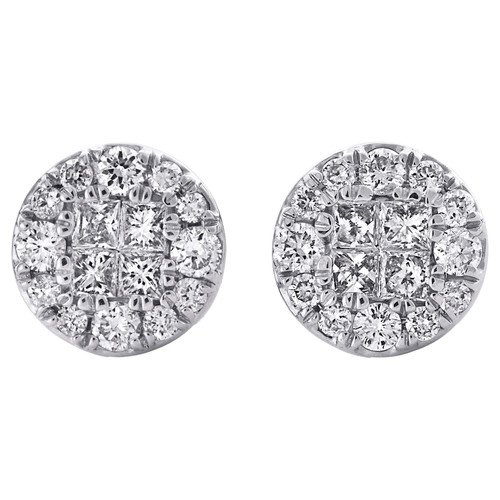 14K White Gold Real Princess Cut Diamond Soliel Cluster Stud 7mm Earrings 1/2 CT