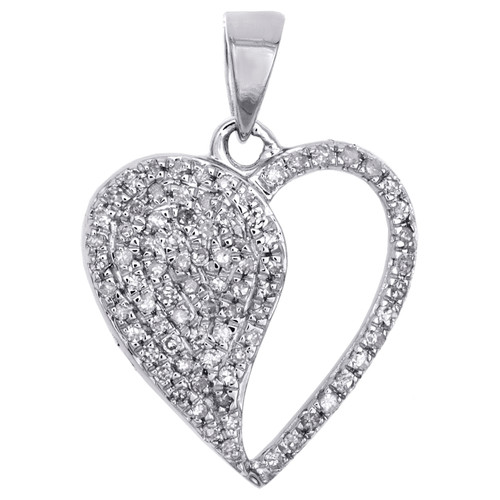 """10K White Gold Real Diamond Heart Pendant 0.80"""" Fany Statement Pave Charm 1/3 CT"""