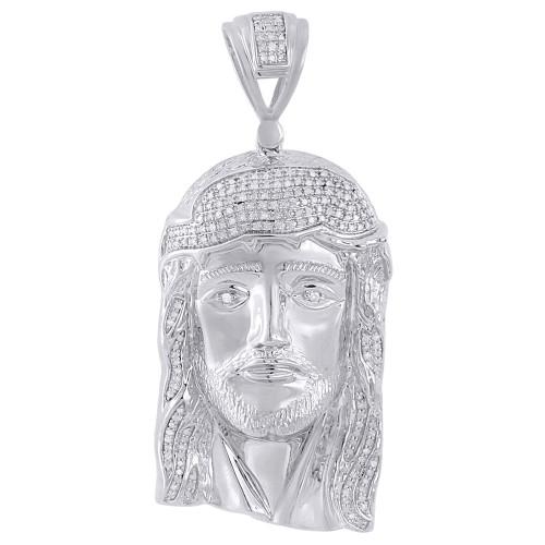 .925 Sterling Silver Mens Round Pave Set Diamond Jesus Face Head Pendent 0.83 Ct