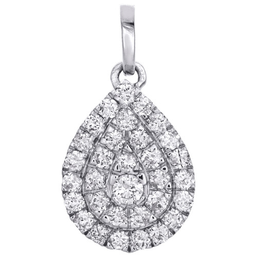 "10K White Gold Real Diamond Teardrop Frame Halo Pendant 0.75"" Pave Charm 1/2 CT."