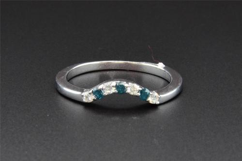 Blue Diamond Enhancer Wrap Engagement Ring Wedding Band 14K White Gold 0.22 Ct