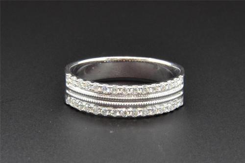 Diamond Wedding Band 14K White Gold 2 Row Round Cut 0.30 Ct Textured Look