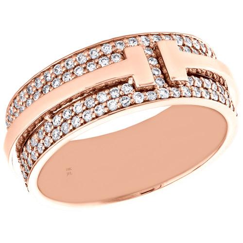 18K Rose Gold White Diamond T-Bar Eternity Anniversary Band Double Ring 1.26 CT.