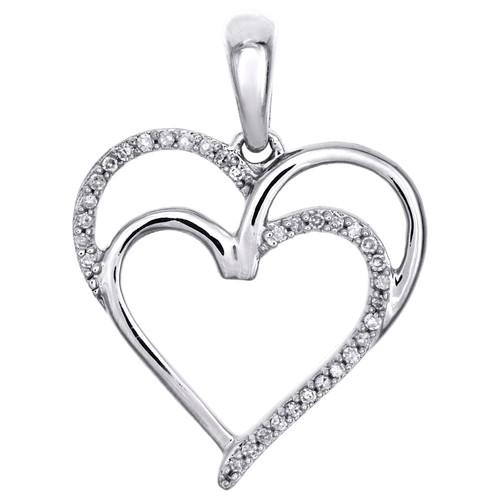 ".925 Sterling Silver Round Diamond Double Heart Cut Out Pendant 1"" Charm 0.10 CT."