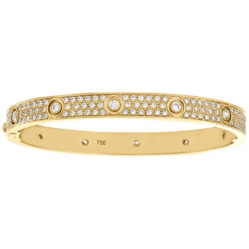 18K Yellow Gold Hinged Round Diamond Paved Bangle 7mm Size 20cm Bracelet 5 CT.