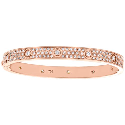 18K Rose Gold Hinged Round Cut Diamond Paved Bangle 7mm Size 20cm Bracelet 5 CT.