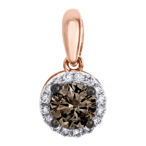 "14K Rose Gold Solitaire Brown Diamond Halo Circle Pendant 0.50"" Charm 0.50 CT."